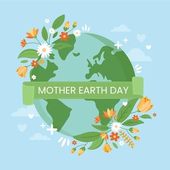Día de la madre tierra con flores de primavera