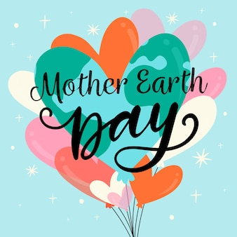 Día de la madre tierra con globos en forma de corazón