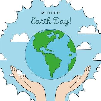 Día de la madre tierra con manos y planeta tierra