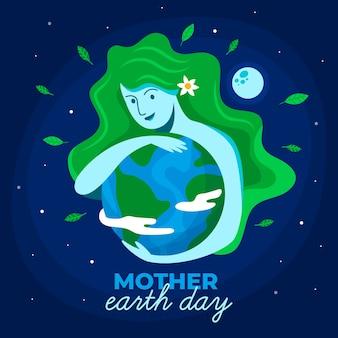 Día de la madre tierra con mujer con cabello verde abrazando el planeta