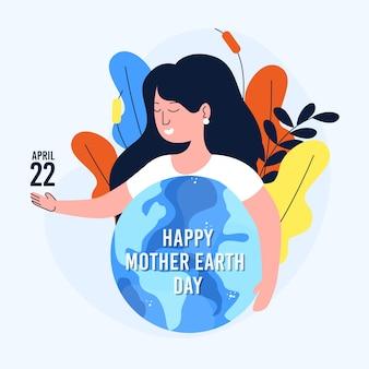 Día de la madre tierra con mujer y planeta