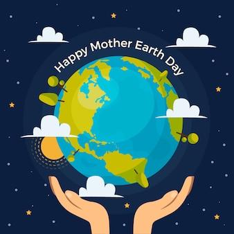 Día de la madre tierra con planeta y manos