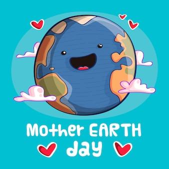 Día de la madre tierra planeta sonriente