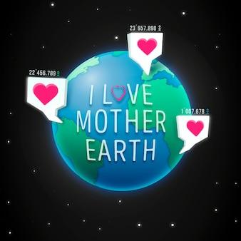 Día de la madre tierra con puntos de pin de planeta y corazón