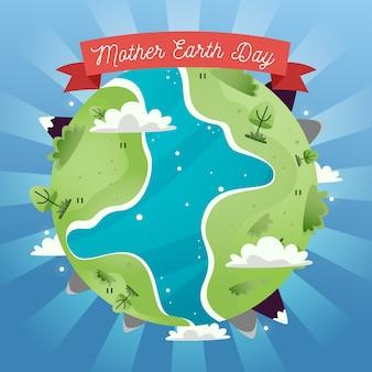 Día de la madre tierra con tierras verdes y río