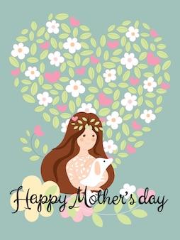 El día de madres feliz con la muchacha linda que sostiene el perro en las flores y las hojas en fondo de la forma del corazón
