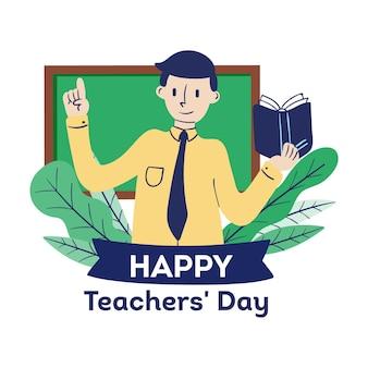 Día del maestro dibujado a mano con hombre.