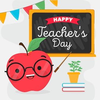 Día del maestro dibujado a mano con manzana.