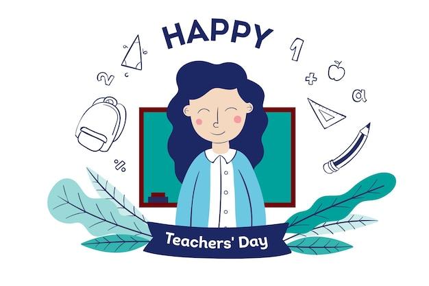 Día del maestro dibujado a mano con mujer.