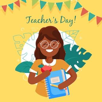 Día del maestro de diseño plano con mujer y cuaderno