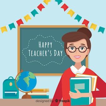 Día del maestro mundial evento plano