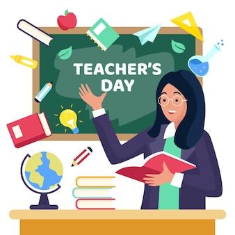 Día del maestro con pizarra y tutor