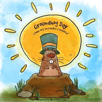 El día de la marmota dibujado a mano