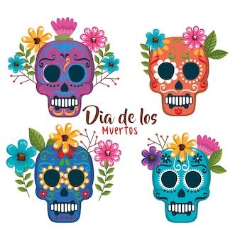 Día de las máscaras muertas con decoración floral