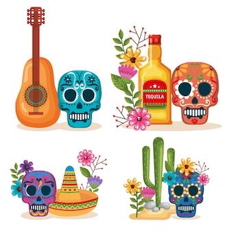 Día de las máscaras muertas con iconos de la cultura