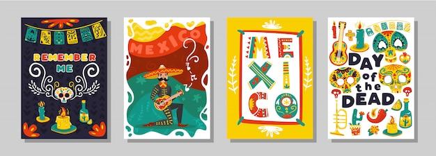 Día mexicano muerto 4 coloridos carteles ornamentales con atributos simbólicos tradicionales máscaras de cráneo ilustración vectorial aislado