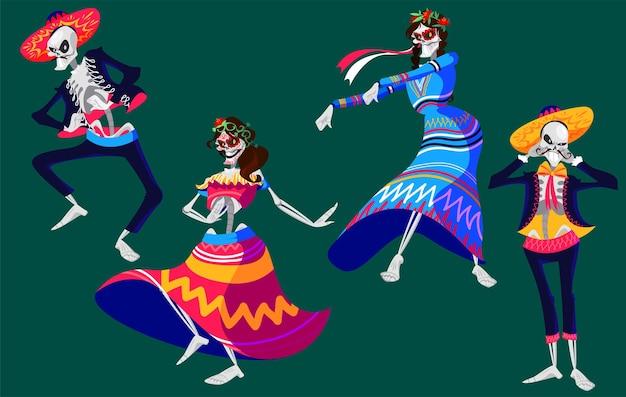 Día mexicano de los muertos esqueletos personajes bailando set
