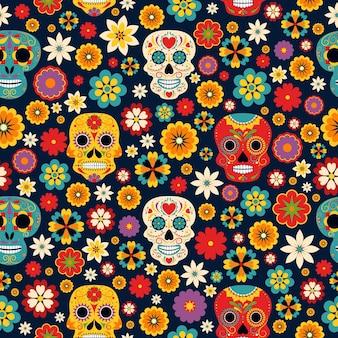 Día mexicano de los muertos mariachi y catrina con sombrero