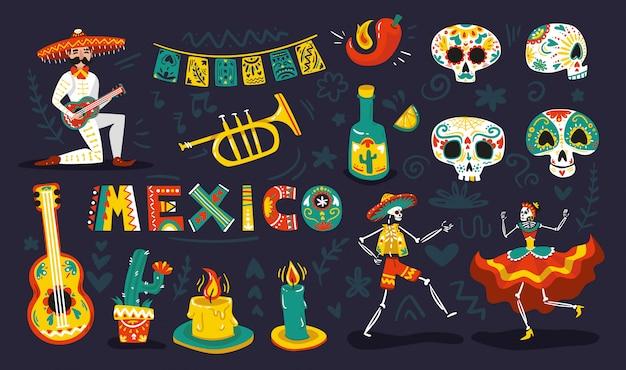 Día mexicano símbolos muertos atributos conjunto colorido con esqueletos bailando calaveras de azúcar máscaras ilustración vectorial