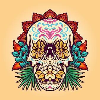 Dia de muerto cráneo de verano