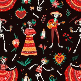 Día de los muertos abigarrado de patrones sin fisuras
