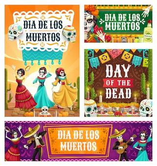 Día de muertos bailando esqueletos y calaveras de azúcar