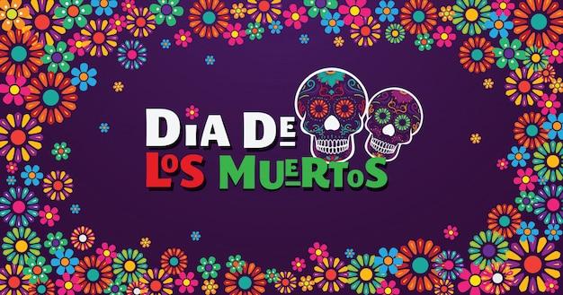 Dia de los muertos banner, calavera decorada con flores de colores