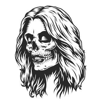Día de muertos cabeza de niña de maquillaje