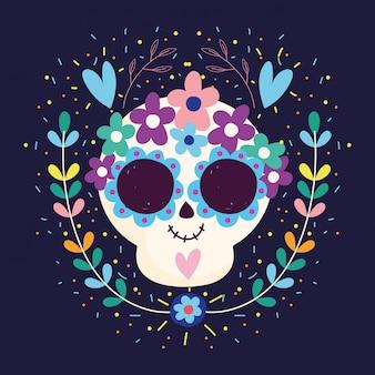 Día de los muertos, calavera corazones flores florecen tradicional celebración mexicana