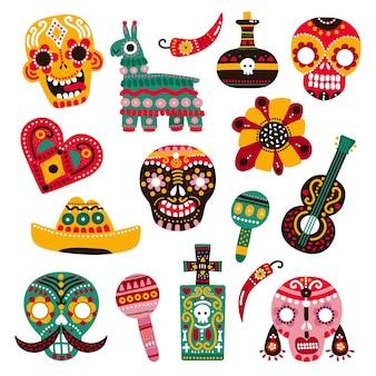 Dia de muertos. calaveras decorativas, guitarra y sombrero, llama y pimiento picante, corazón y tumba. conjunto de vectores de dia de los muertos mexicano