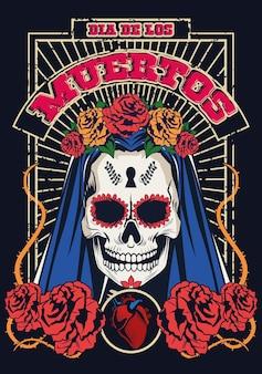 Dia de los muertos celebración con mujer cráneo y corazón, diseño de ilustraciones vectoriales