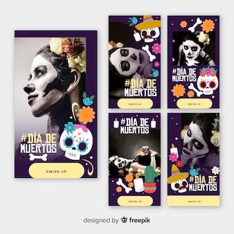 Día de muertos colección de historias de chicas de instagram