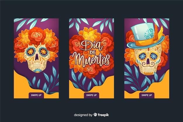 Día de muertos colección de historias de instagram