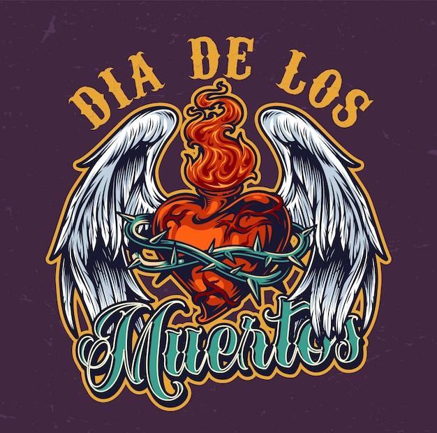 Día de los muertos colorido emblema vintage