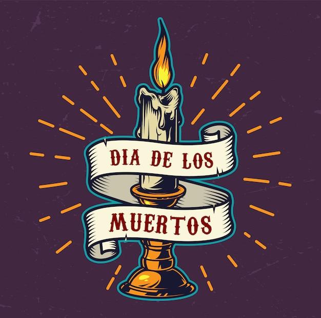 Dia de los muertos colorido emblema