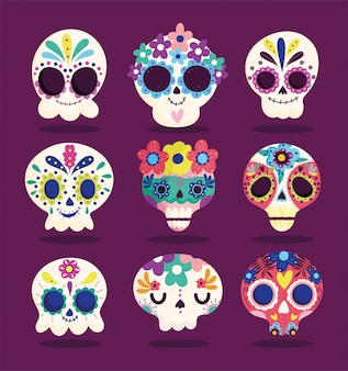 Día de los muertos, conjunto catrinas flores decoración tradicional celebración mexicana