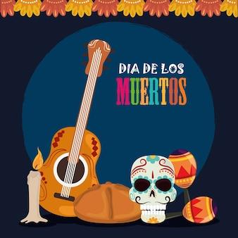 Día de los muertos, cráneo guitarra maracas pan y vela, celebración mexicana ilustración vectorial