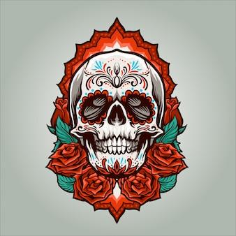 Dia de muertos cráneo ilustración