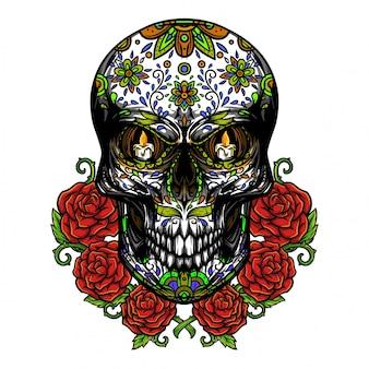 Dia de los muertos cráneo ilustración
