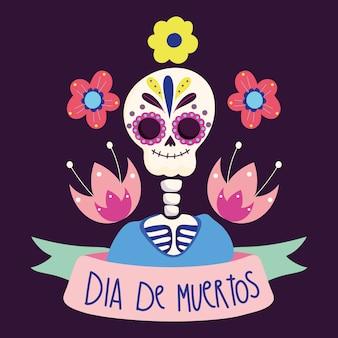 Día de los muertos, cultura de las flores esqueléticas tradicional celebración mexicana
