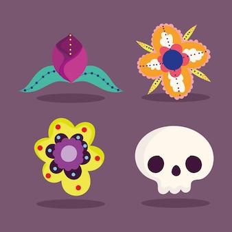 Día de los muertos, decoración de flores catrina celebración tradicional íconos mexicanos
