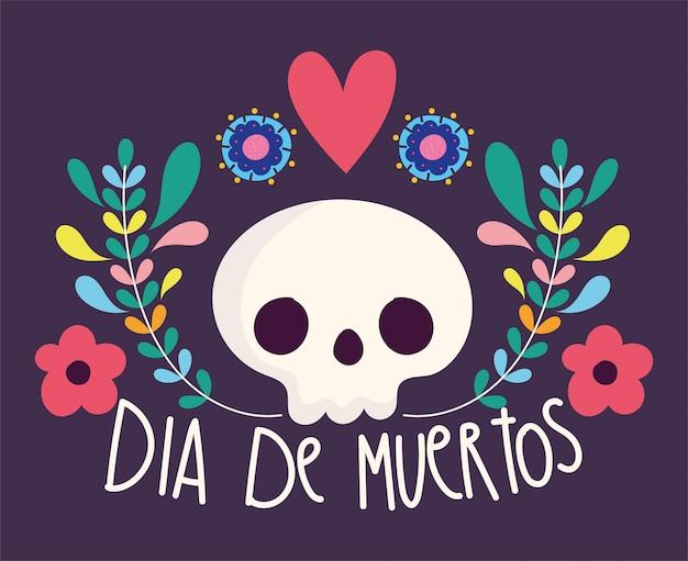 Día de los muertos, decoración de flores catrina celebración tradicional mexicana