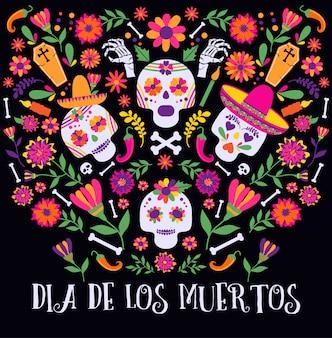 Día de los muertos, dia de los moertos, pancarta con coloridas flores mexicanas.