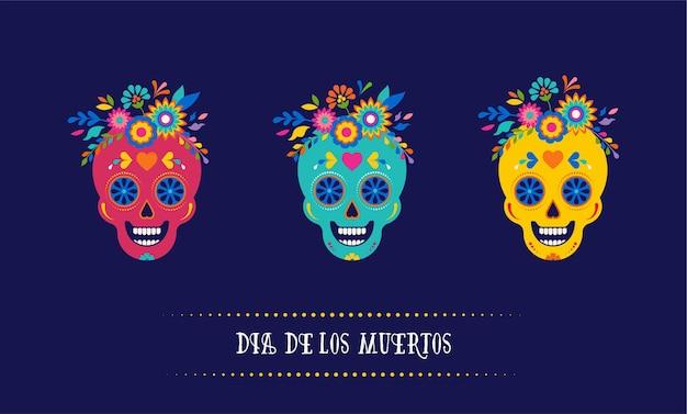 Día de los muertos dia de los muertos banner de fondo y concepto de tarjeta de felicitación con calavera de azúcar