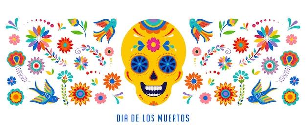 Día de los muertos dia de los muertos banner de fondo y tarjeta de felicitación