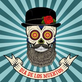 Dia de los muertos. dia de los muertos. calavera de azúcar con barba y sombrero sobre fondo vintage con banner.