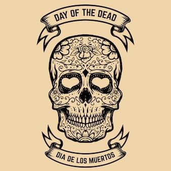 Dia de los muertos. dia de los muertos. calavera de azúcar con estampado de flores. elemento para cartel, tarjeta de felicitación. ilustración