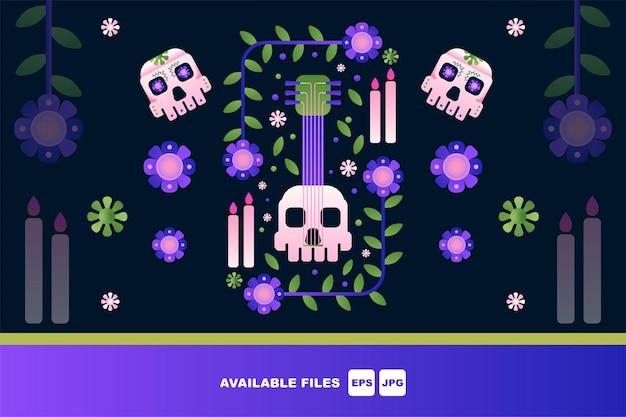 Día de muertos, dia de los muertos, conjunto de ilustraciones vectoriales planas. calaveras mexicanas de azúcar,