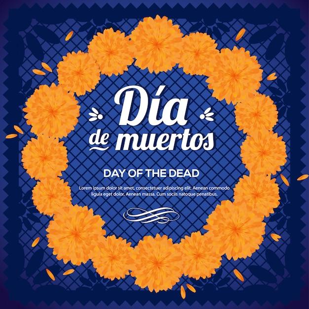 Día de muertos (día de los muertos) corona de flores de caléndula