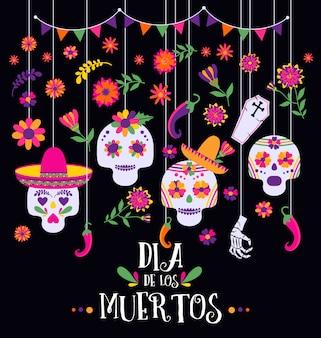 Día de los muertos, dia de los muertos, pancarta con coloridas flores mexicanas e iconos.